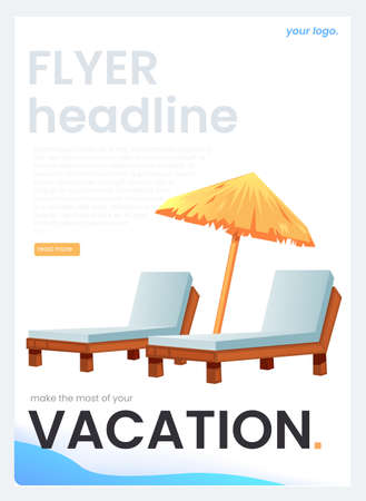The flyer for a travel agency. The vacation concept. Vector cartoon illustration. Иллюстрация