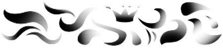 Modern waves halftone set. Grunge texture. White background.