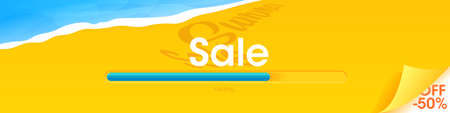 The summer is coming banner. The Sale concept with sea and sand and the loading bar. A vector illustration