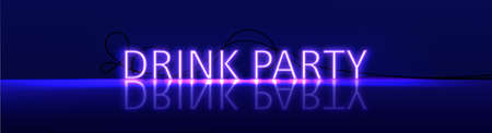 Neon realistic text Drink Party. Violet color with light and letters on floor. Vector illustration