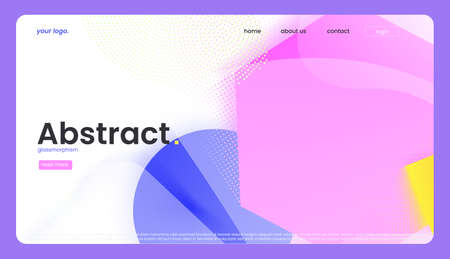 The modern abstract landing page design with colorful shape. A minimal trendy banner. A vector abstract glassmorphism background. Иллюстрация