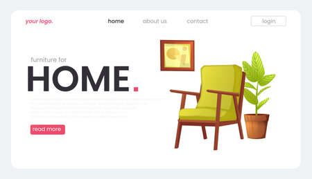 The landing page for a furniture store. The white banner with armchair and a plant and a picture in a frame. A vector cartoon illustration.