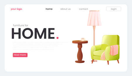 The landing page for a furniture store. The white banner with an armchair and a lamp and a coffee table with a cup of tea. A vector cartoon illustration.