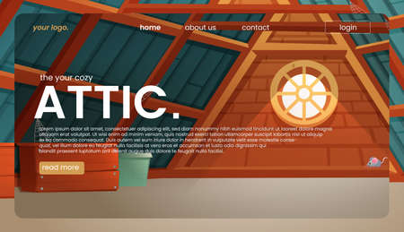 The attic landing page design. An old room interior for banner concept. A vector cartoon illustration.