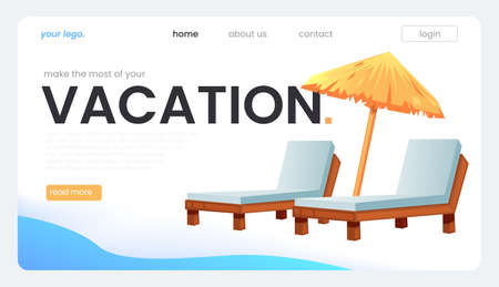 The landing page for a travel agency. The vacation concept. Vector cartoon illustration 矢量图像