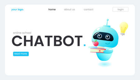 An online assistant bot on a landing page template. The technical support design for a web page. A virtual help website. Vector cartoon illustration