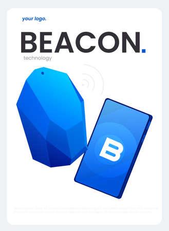 The Beacon Boom Fitting Beacon Technology flyer Local SEO Strategy. Vector flat illuustration. 矢量图像