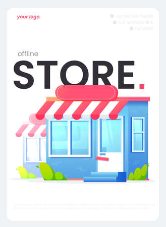 The online store flyer, the great design for any purposes. A Vector flat illustration.