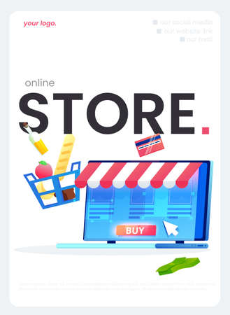 The online store flyer, a great design for any purposes. Vector flat illustration. 矢量图像