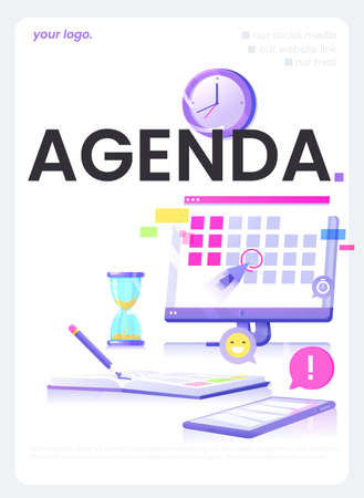 Agenda website concept flyer. The monitor screen with a calendar and daily notebook with pencil and phone with application. Vector illustration flat design