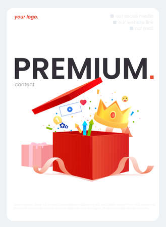 The Premium content. A Gift box with a ribbon and money and a crown and other bonuses. A vector cartoon illustration 矢量图像