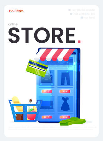 The online store flyer, a great design for any purposes. A Vector flat illustration
