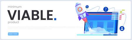 A MVP concept banner. Minimum viable product. Vector cartoon illustration.