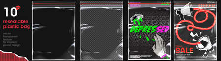 The modern ziplock texture for a poster designs. The transparent plastic flyer and two flyers in punk pop art style. Vector stylish mockup. 矢量图像
