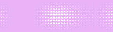 Halftone in abstract style. Geometric retro banner vector texture. Modern print. White and pink background. Light effect.