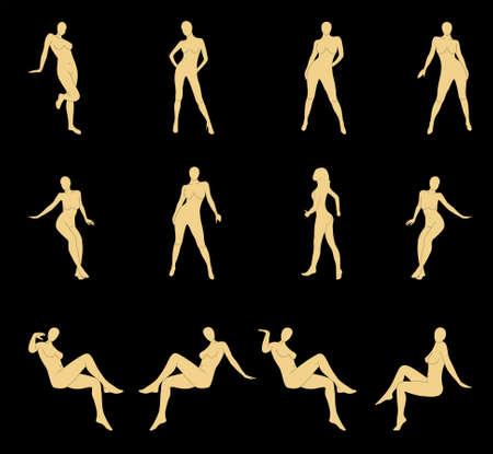 naked silhouette Vector