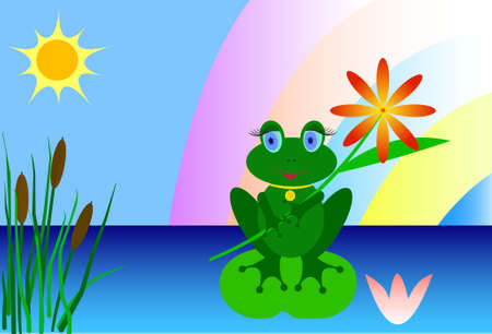 lily vector: frog