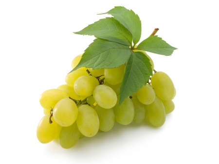 bunch of fresh grapes with leaf isolated on white