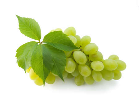 bunch of fresh grapes with leaf isolated on white Stock Photo - 3345099