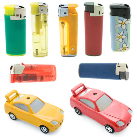 flamme: collection cigarette lighters isolated against a white background Stock Photo