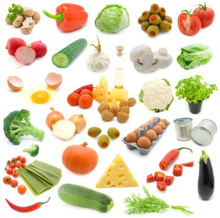 set of fresh vegetables over white background