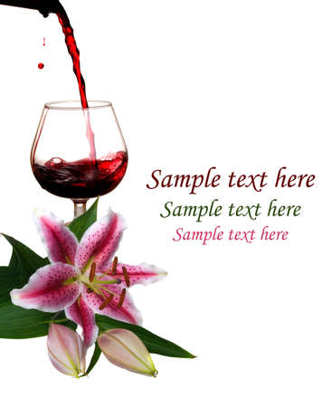 Red wine with  Lilies isolated on white background photo