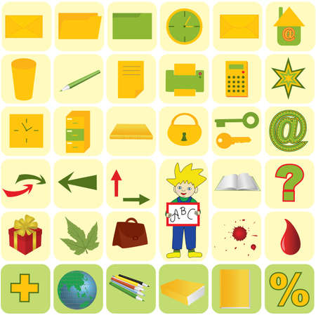 Vector illustration - office and school icon set Vector