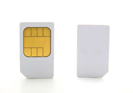 sim: Closeup  of a two sim card for cell phones.
