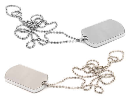 blank army dog tags isolated on white background - insert your own name or message Stock Photo - 5334568