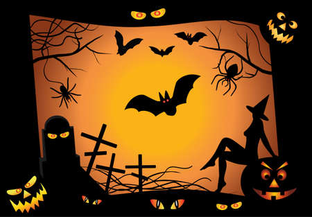 Halloween design elements. Includes jack o lantern pumpkin, black tarantula, witch, bats, pumpkin, grave, eyes  Vector