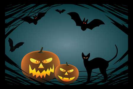 jack o: Halloween design elements. Includes jack o lantern pumpkin, black  bats,  pumpkin and cat. Illustration
