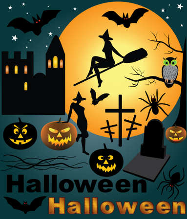 tarantula: Halloween design elements silhouette set. Includes jack o lantern pumpkin, black tarantula, witch, bats, owl, pumpkin, grave.