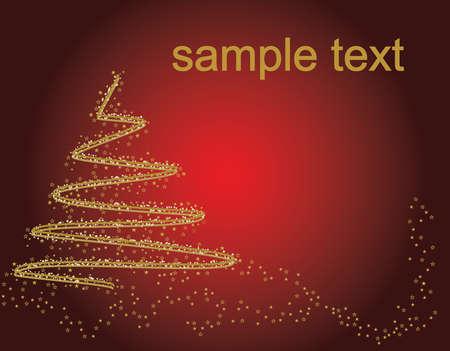 赤の背景にテキスト用のスペース上に抽象的なゴールデン クリスマス ツリー