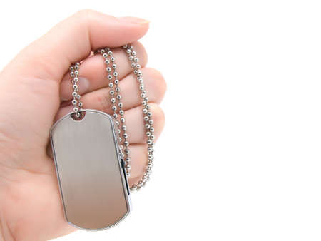 blank army dog tags isolated on white background Stock Photo - 6349596