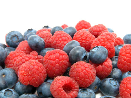 Blueberry and raspberries on white background