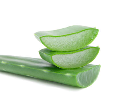 Sliced aloe leaves isolated on white background  photo