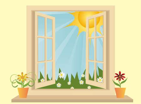 Kunst stof venster geopend in kamer met uitzicht op het groene veld