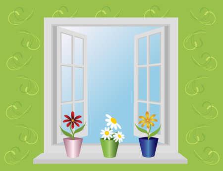 open window: open window with flowers. Illustration