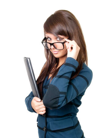 sexy secretary: Young beautiful businesswoman wearing glasses. Isolated over white.  Stock Photo