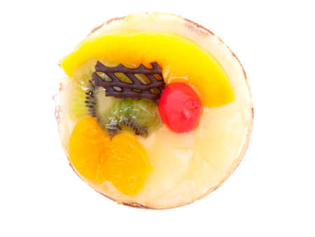 confiserie: confectionery - Mandarin tartlet on a white background