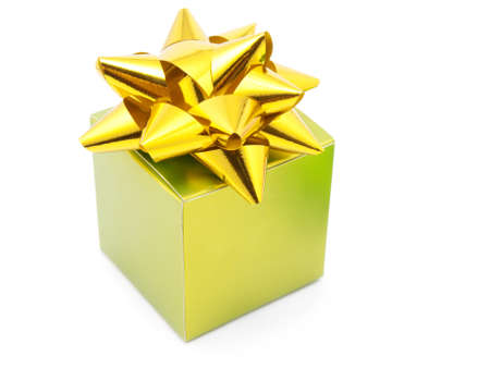 green gift box with ribbons Stock Photo - 7707257