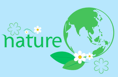 Green globe with flower and leaf. Eco Concept. Vector illustration.  Vector