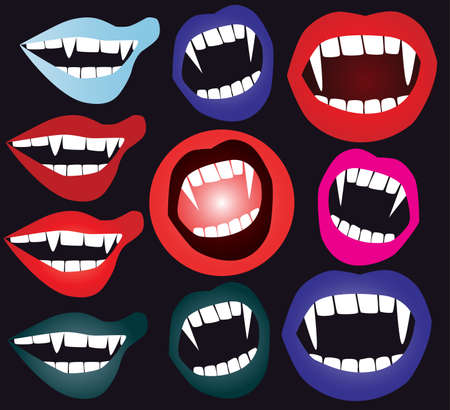 vampira sexy: conjunto de boca de vampiro  Vectores