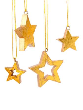Golden Christmas stars background Stock Photo - 8009160