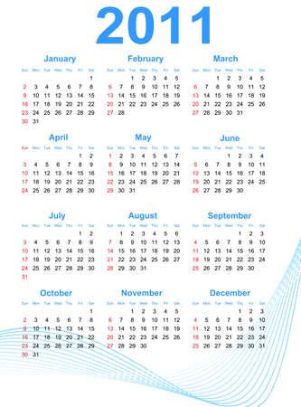 weekday: 2011 Calendar