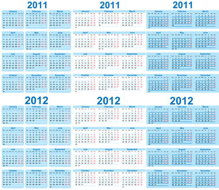 Set of 2011 and 2012 Calendar