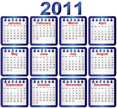 thursday: Calendar 2011. Week starts on Sunday Illustration
