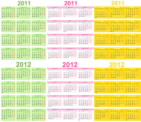 Set of 2011 and 2012 Calendar Vector