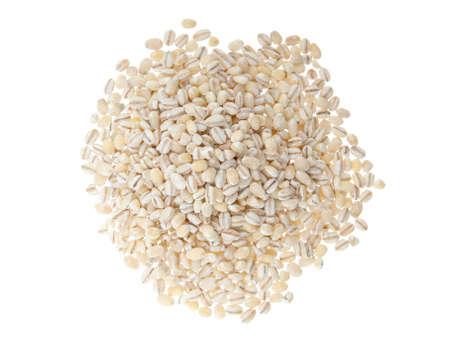 barley groats on white background photo