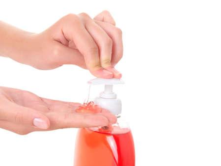 washing teenager hands isolated on white background  Stock Photo - 8243055